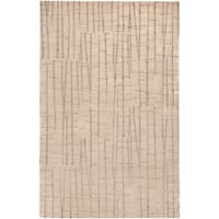 Hand-knotted Blue Abstract Design Wool Area Rug - 4' x 6'