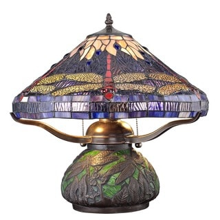 Tiffany-style Dragonfly Table Lamp with Mosaic Base