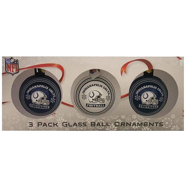Indianapolis Colts Glass Ornaments (Pack of 3)