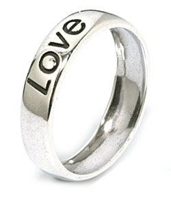 Carolina Glamour Collection Sterling Silver 'Love' Ring - Thumbnail 1