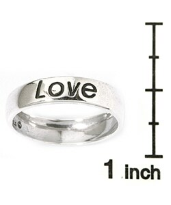 Carolina Glamour Collection Sterling Silver 'Love' Ring - Thumbnail 2