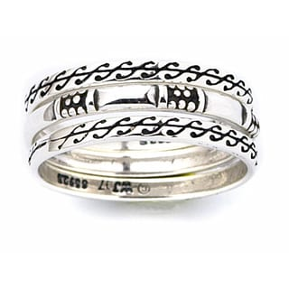 Sterling Silver Scroll Design Stackable Ring Set
