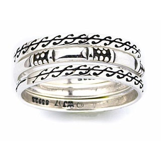 Sterling Silver Scroll Design Stackable Ring Set (More options available)