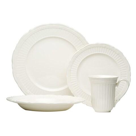 Red Vanilla Tuscan Villa White Stoneware Embossed Fluted 16-piece Dinnerware Set