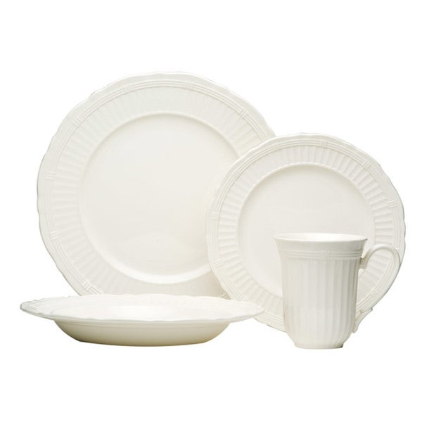 Red Vanilla Tuscan Villa White Stoneware Embossed Fluted 16-piece Dinnerware Set