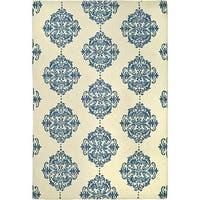 Safavieh Hand-hooked Miff Ivory/ Blue Wool Rug - 5'3' x 8'3'