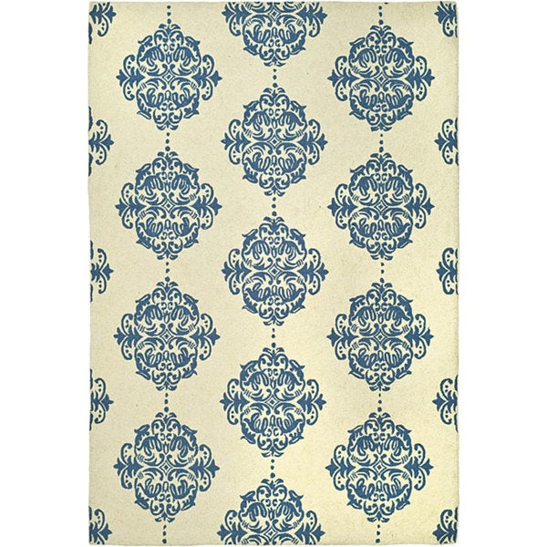 "Safavieh Hand-hooked Miff Ivory/ Blue Wool Rug - 5'-3"" X 8'-3"""