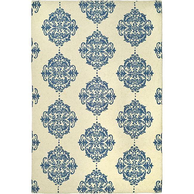 Safavieh Hand-hooked Miff Ivory/ Blue Wool Rug (7'9 x 9'9) - Thumbnail 0