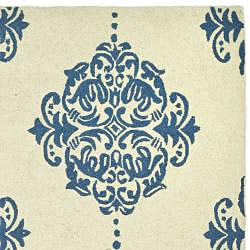 Safavieh Hand-hooked Miff Ivory/ Blue Wool Rug (7'9 x 9'9) - Thumbnail 1