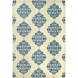 Safavieh Hand-hooked Miff Ivory/ Blue Wool Rug (7'9 x 9'9)