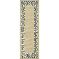 Safavieh Indoor/ Outdoor Ocean Natural/ Blue Runner (2'4x 6'7)