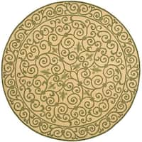 Safavieh Hand-hooked Iron Gate Yellow/ Light Green Wool Rug - 3' x 3' round