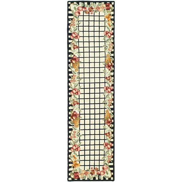 Safavieh Hand-hooked Harvest Ivory/ Black Wool Runner Rug - 2'6 x 12'