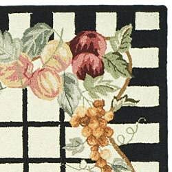 Safavieh Hand-hooked Harvest Ivory/ Black Wool Rug (6' x 9') - Thumbnail 1