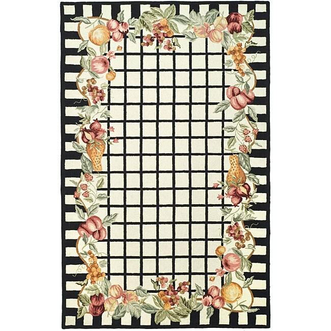 Safavieh Hand-hooked Harvest Ivory/ Black Wool Rug (7'9 x 9'9)