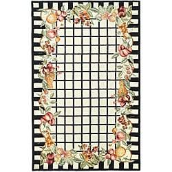 Safavieh Hand-hooked Harvest Ivory/ Black Wool Rug (7'9 x 9'9) - Thumbnail 0