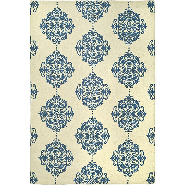 Safavieh Hand-hooked Miff Ivory/ Blue Wool Rug (6' x 9') - Thumbnail 0