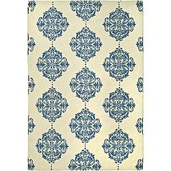 Safavieh Hand-hooked Miff Ivory/ Blue Wool Rug - 6' x 9' - Thumbnail 0