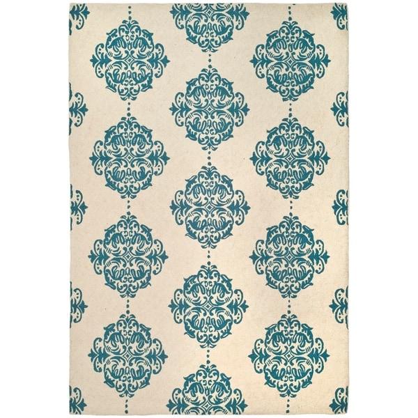 Safavieh Hand-hooked Miff Ivory/ Blue Wool Rug - 6' x 9'