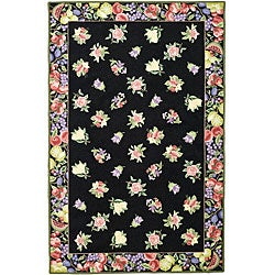 Safavieh Hand-hooked Fruit Harvest Black Wool Rug (6' x 9')
