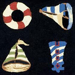 Safavieh Hand-hooked Sailor Black Wool Rug (5'3 x 8'3)