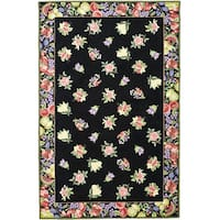 Safavieh Hand-hooked Fruit Harvest Black Wool Rug - 5'3 x 8'3