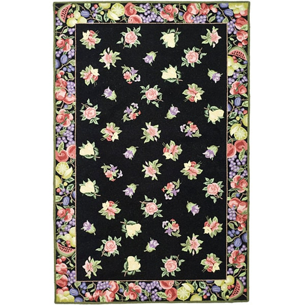 Safavieh Hand-hooked Fruit Harvest Black Wool Rug (5'3 x 8'3)