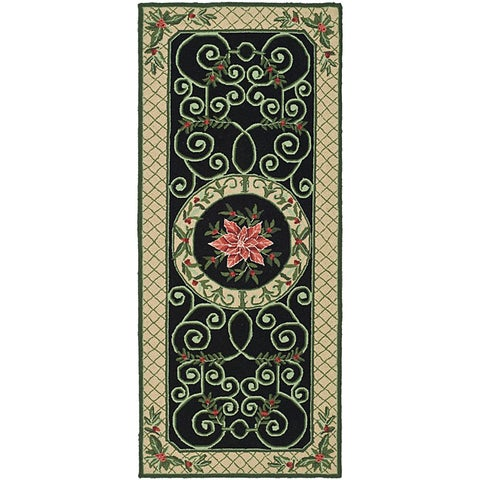 "Safavieh Hand-hooked Irongate Wreath Green/ Beige Wool Runner Rug - 2'6"" x 6'"