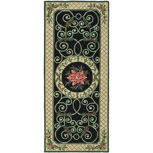 Safavieh Hand-hooked Irongate Wreath Green/ Beige Wool Runner Rug - 2'6 x 6'