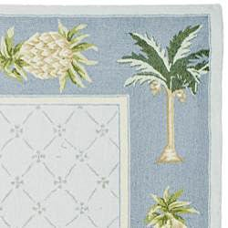 Safavieh Hand-hooked Palm Light Blue/ Blue Wool Rug (8'9 x 11'9) - Thumbnail 1
