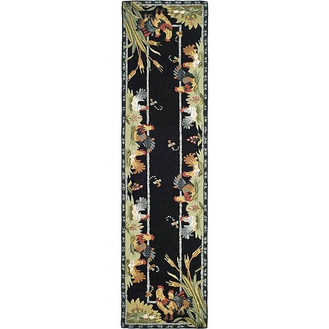 Safavieh Hand Hooked Roosters Black Wool Runner Rug 2 X27