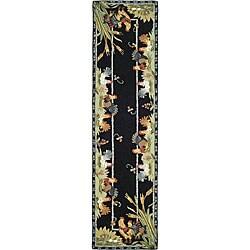 Safavieh Hand-hooked Roosters Black Wool Runner Rug - 2'6 x 8' - Thumbnail 0