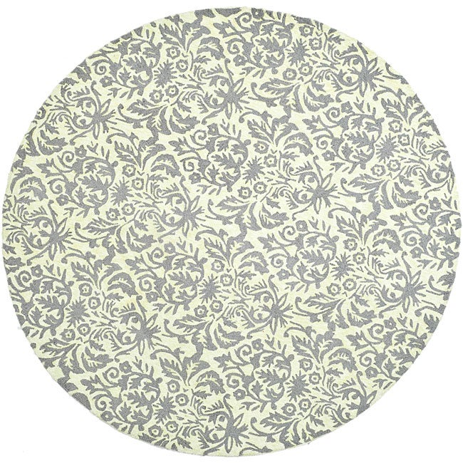 Safavieh Hand-hooked Damask Beige-Yellow/ Grey Wool Rug (5'6 Round)