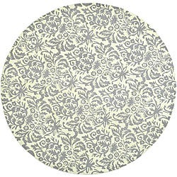 Safavieh Hand-hooked Damask Beige-Yellow/ Grey Wool Rug (5'6 Round)