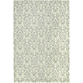 Safavieh Hand-hooked Damask Beige-Yellow/ Grey Wool Rug (6' x 9')