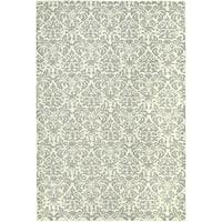 Safavieh Hand-hooked Damask Beige-Yellow/ Grey Wool Rug - 6' x 9'