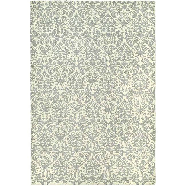 Safavieh Hand-hooked Damask Beige-Yellow/ Grey Wool Rug (7'9 x 9'9)