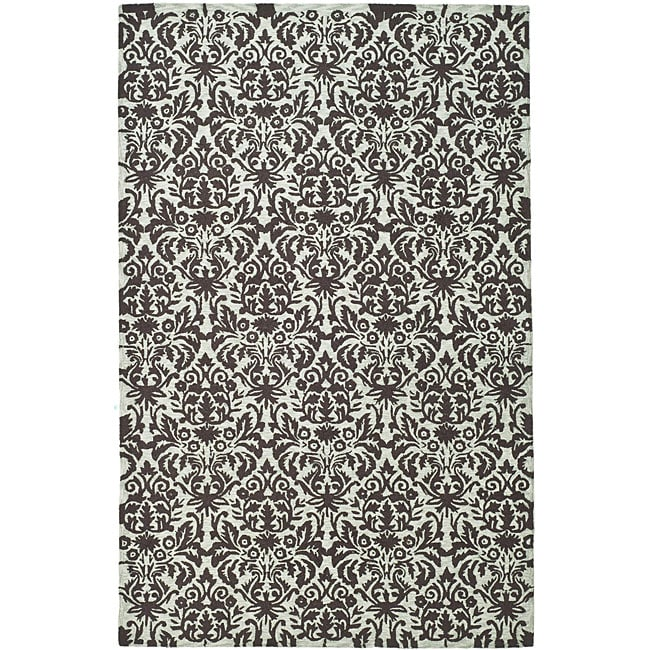 Safavieh Hand-hooked Damask Sage/ Chocolate Wool Rug - 5'3 x 8'3
