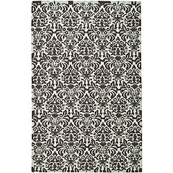 Safavieh Hand-hooked Damask Sage/ Chocolate Wool Rug - 5'3 x 8'3 - Thumbnail 0