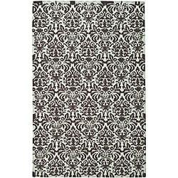 Safavieh Hand-hooked Damask Sage/ Chocolate Wool Rug (6' x 9')