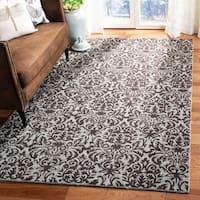 Safavieh Hand-hooked Damask Sage/ Chocolate Wool Rug - 6' x 9'