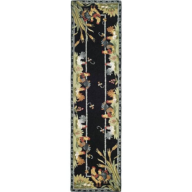Safavieh Hand-hooked Roosters Black Wool Runner (2'6 x 10...