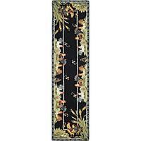 Safavieh Hand-hooked Roosters Black Wool Runner (2'6 x 10')