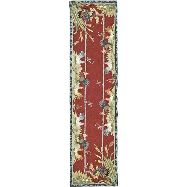 Safavieh Hand-hooked Roosters Burgundy (Red) Wool Rug (2'...