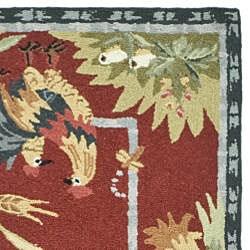 Safavieh Hand-hooked Roosters Burgundy Wool Rug (2'6 x 10') - Thumbnail 1