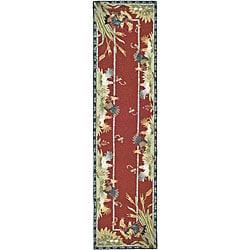 Safavieh Hand-hooked Roosters Burgundy Wool Rug (2'6 x 10')