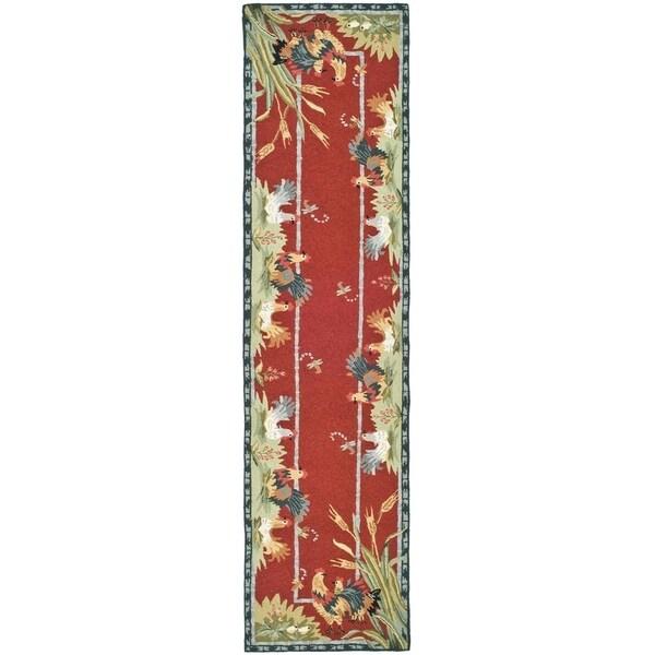 """Safavieh Hand-hooked Roosters Burgundy Wool Rug - 2'6"""" x 10'"""