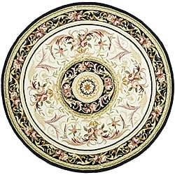 Safavieh Hand-hooked Aubusson Ivory/ Burgundy Wool Rug (5'6 Round)