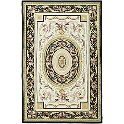 Safavieh Hand-hooked Aubusson Ivory/ Black Wool Rug (5'3 x 8'3)