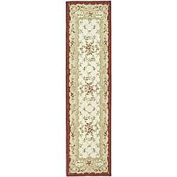 Safavieh Hand-hooked Aubusson Ivory/ Burgundy Wool Runner (2'6 x 12')